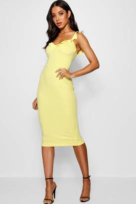boohoo Frill Bustier Fitted Midi Dress