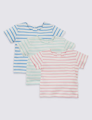 Marks and Spencer 3 Pack Organic Cotton Striped T-Shirts