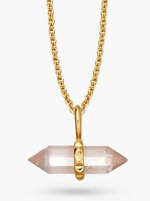 Missoma 18ct Gold Vermeil Double Wand Short Plain Pendant Necklace, Gold/Quartz