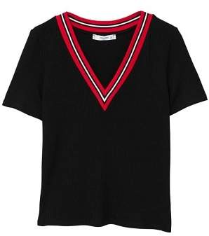 MANGO Contrast collar t-shirt