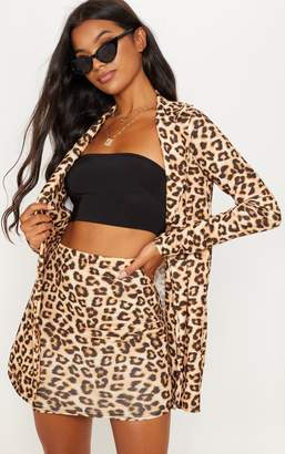 PrettyLittleThing Brown Leopard Skirt