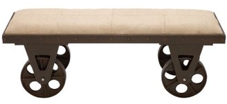 DecMode Decmode 17 X 47 Inch Industrial Wood and Metal Vintage Cart Cushioned Bench, Brown