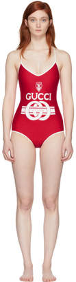 Gucci Red and Off-White Logo Crest Swimsuit