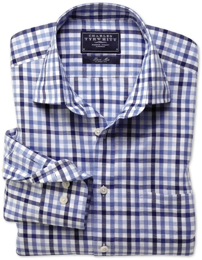 Charles Tyrwhitt Blue multi gingham linen mix long sleeve shirt