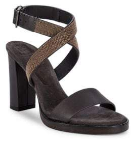Brunello Cucinelli Beaded High-Heel Leather Sandals