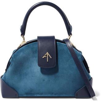 Atelier MANU Demi Mini Leather-trimmed Suede Shoulder Bag - Navy