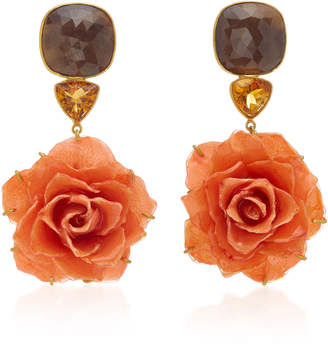 Bahina Rose 18K Gold Brown Sapphire And Garnet Earrings