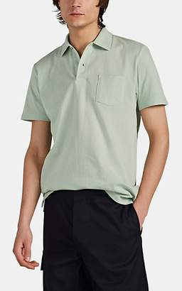 Sunspel Men's Mesh-Knit Cotton Polo Shirt - Turquoise