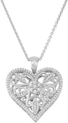Vera Wang Simply Vera Sterling Silver 1/4 Carat T.W. Diamond Heart Pendant