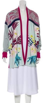 Etro Printed Open Front Cardigan Blue Printed Open Front Cardigan