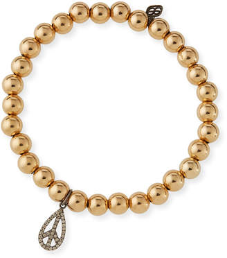 Sydney Evan 6mm Golden Beaded Bracelet with Diamond Teardrop Peace Charm
