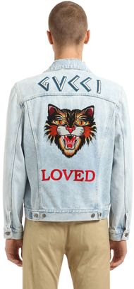 Cat Patch Stone Washed Denim Jacket $2,350 thestylecure.com