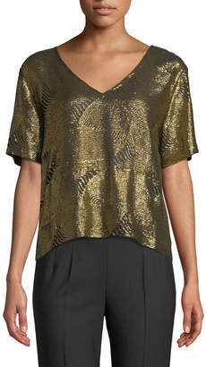 Sally Lapointe V-Neck Short-Sleeve Boxy Sequined Tee