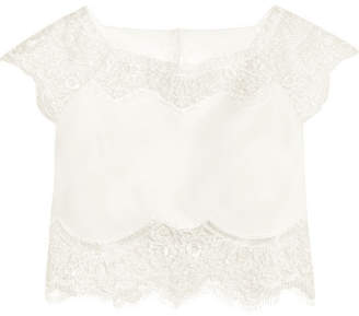 Rime Arodaky - Caplan Cropped Lace And Crepe Top - White