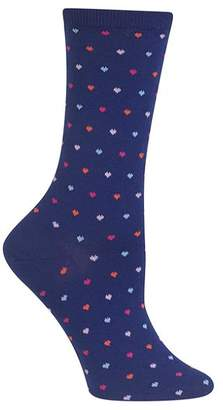 Hot Sox Pindot Heart Crew Socks