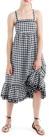 Women's J.crew Eyelet Trim Puckered Gingham Sundress
