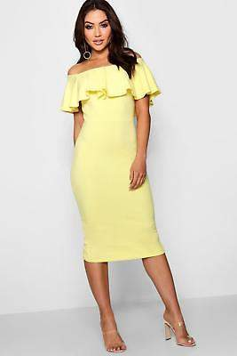 boohoo NEW Womens Off the Shoulder Midi Dress in Polyester