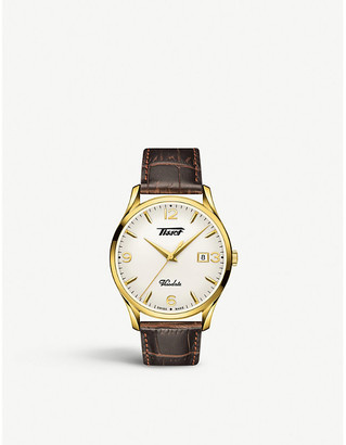 Tissot T118.410.36.277.00 Heritage Visodate yellow-gold plated stainless steel and leather watch
