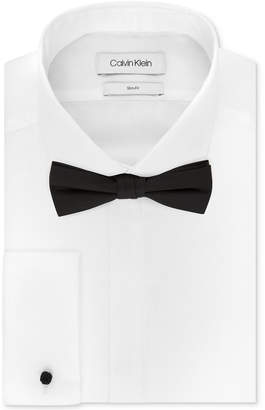 Calvin Klein Men Slim-Fit Solid French Cuff Dress Shirt & Pre-Tied Solid Bow Tie Set