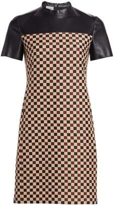 Akris Punto Chess Check & Leather Sheath Dress