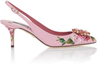 Dolce & Gabbana Embellished Floral-Print Leather Pumps