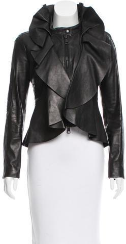 ValentinoValentino Leather Ruffled-Trimmed Jacket