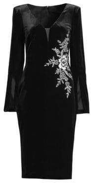 Basix II Black Label Velvet Embroidered Long Sleeve Dress