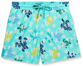 Vilebrequin Moorise Mid-Length Glow-In-The-Dark Printed Swim Shorts - Men - Light blue