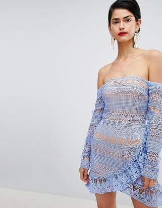 Missguided Frill Lace Bardot Dress