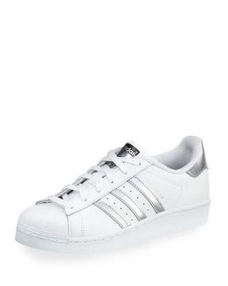 Adidas Superstar Original Fashion Sneaker, White/Silver $80 thestylecure.com