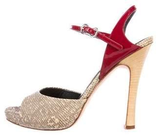 Alexander McQueen Lizard Ankle-Strap Sandals