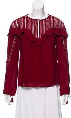 Rebecca Minkoff Lace-Accented Long Sleeve Top