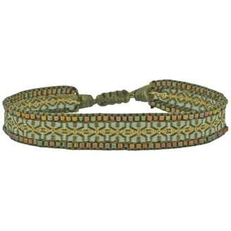 LeJu London Handwoven Single Wrap Bracelet In Green Tones