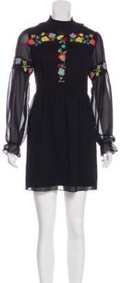 Anna Sui Embroidered Long Sleeve Mini Dress Black Embroidered Long Sleeve Mini Dress