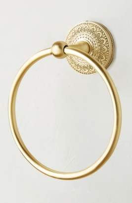 Anthropologie Brass Medallion Towel Ring