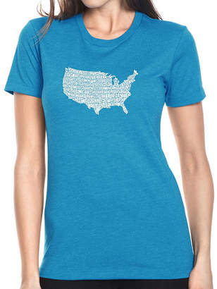 LOS ANGELES POP ART Los Angeles Pop Art Women's Premium Blend Word ArtT-shirt - THE STAR SPANGLED BANNER