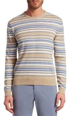 Saks Fifth Avenue COLLECTION Stripe Crewneck Cotton Sweater