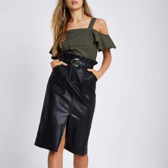 River Island Black faux leather paperbag pencil skirt