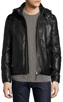 Mackage Balfour Leather Down Bomber Jacket, Black $1,190 thestylecure.com