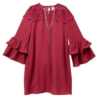 Beautees Lace Yoke Ruffle Sleeve Dress & Necklace Set (Big Girls)