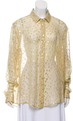 Saint Laurent Metallic Georgette Blouse w/ Tags Gold Metallic Georgette Blouse w/ Tags