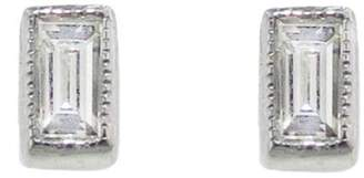 Couture Sethi Tiny Baguette Diamond Stud Earrings - White Gold