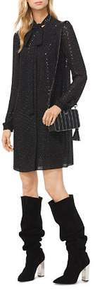 MICHAEL Michael Kors MICHAEL Embellished Georgette Tie-Neck Shirt Dress