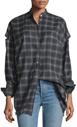 Helmut Lang Tabbed-Sleeve Plaid Open-Back Shirt, Charcoal Melange $425 thestylecure.com