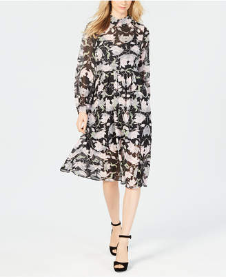 AVEC LES FILLES Long-Sleeve Floral Midi Dress