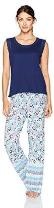 Tommy Hilfiger Women's Long Sleeve Henley Capri Pant Pajama Set