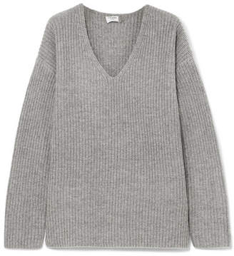 Oversized Ribbed-knit Sweater - Gray