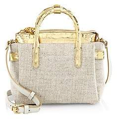 Nancy Gonzalez Women's Small Christie Linen & Crocodile Satchel