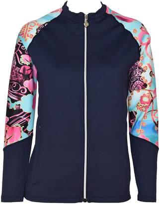 Private Island Hawaii Women UV Wetsuits Long Raglan Sleeve Rash Guard Top Zipper Jacket (XXX-Large, )