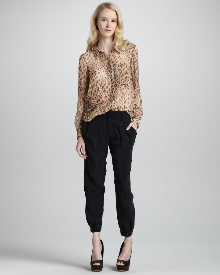 Haute Hippie Pleated Button-Cuff Pants